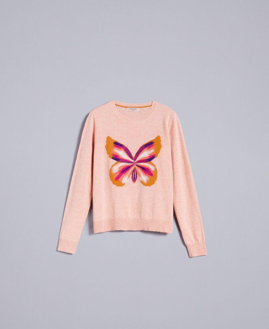 """Maglia in misto lana con ricamo Ricamo Rosa """"Pale Pink"""" Farfalle Agugliato Donna TA83JD-0S"""