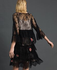 Valenciennes lace dress with floral embroidery Black Woman 192TP2586-03