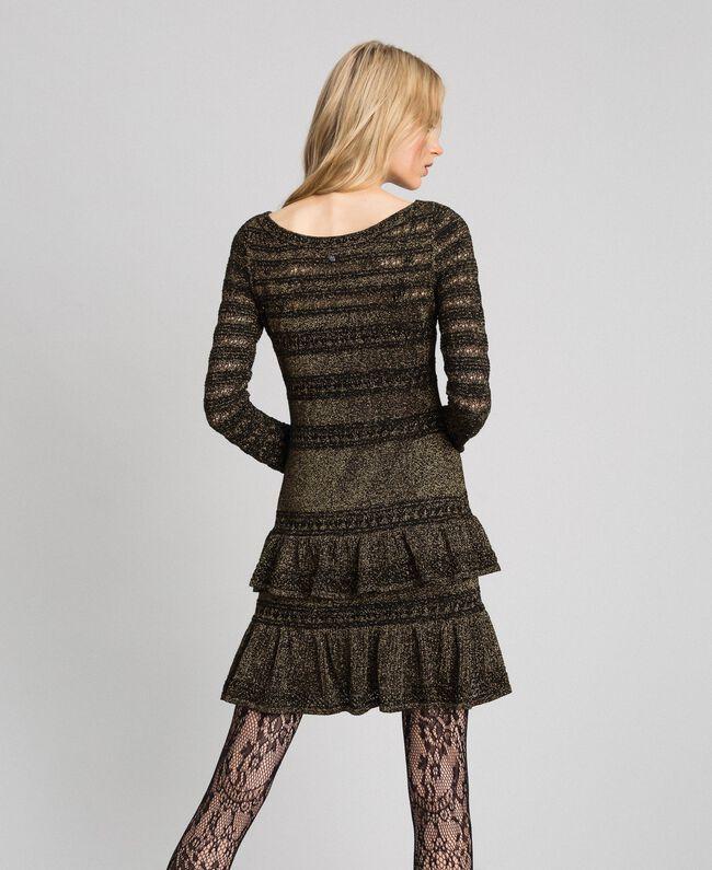 Robe en maille lurex à volants Rayé Noir / Lurex Femme 192TT3221-03