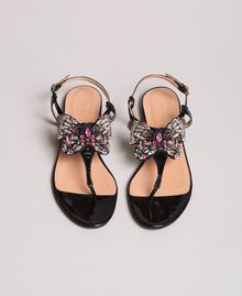 Leather sandals with jewelry butterfly Black Woman 191TCP106-03