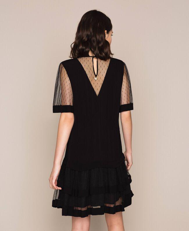 Crêpe de Chine dress with plumetis tulle Black Woman 201TP2371-03