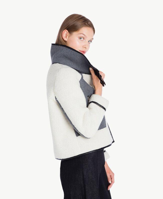 Veste faux mouton Gris Mélangé YA72A2-01