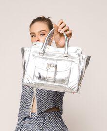 Leather Rebel shopping bag with pocket Titanium Gray Woman 201TA723Z-0S