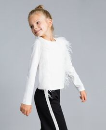 Cotton t-shirt with feathers Off White Child GA827B-02