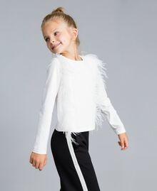 T-shirt en coton avec plumes Off White Enfant GA827B-02
