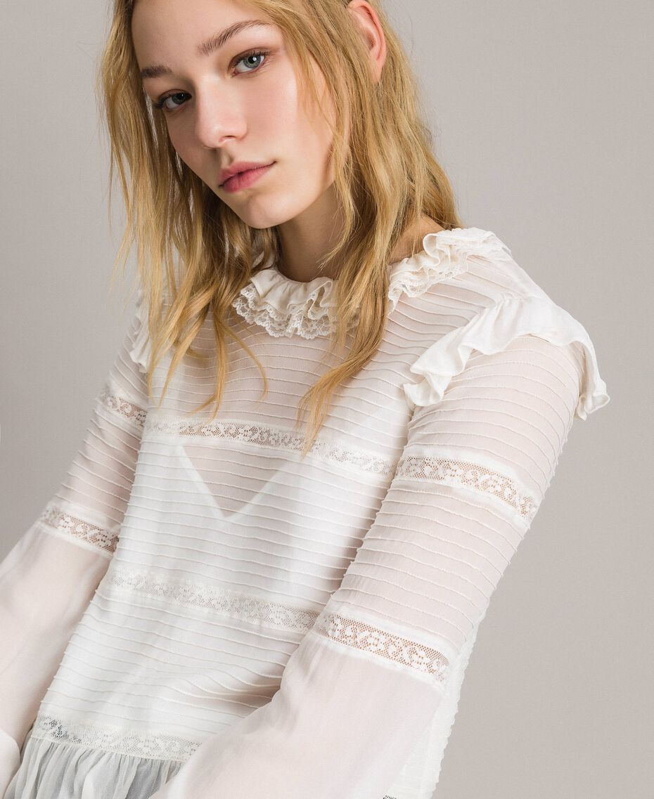 Georgette and lace blouse White Snow Woman 191TP2120-02