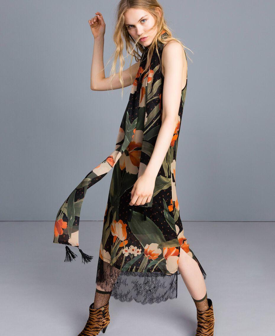 Printed scarf Maxi Black Tulip Print Woman OA8T14-0S