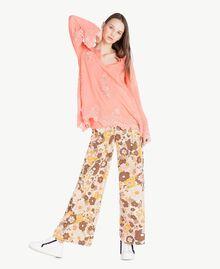 Bluse mit Stickerei Coral Pink Frau SS82JA-05
