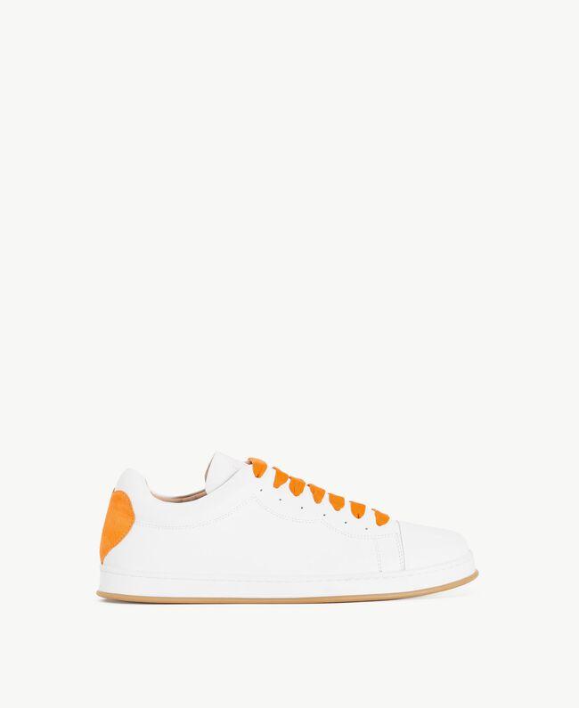 TWINSET Heart sneakers Two-tone Optical White / Orange Woman CS8PJJ-01