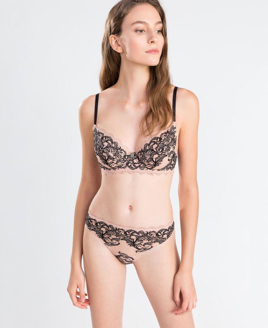 Soutien-gorge à armatures en dentelle bicolore (bonnets D) Bicolore Noir / Rose Ballerines Femme LA8C5D-0S