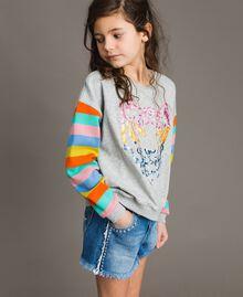 Cotton knitted striped sweatshirt Melange Grey / Multicolour Striping Child 191GJ2451-02