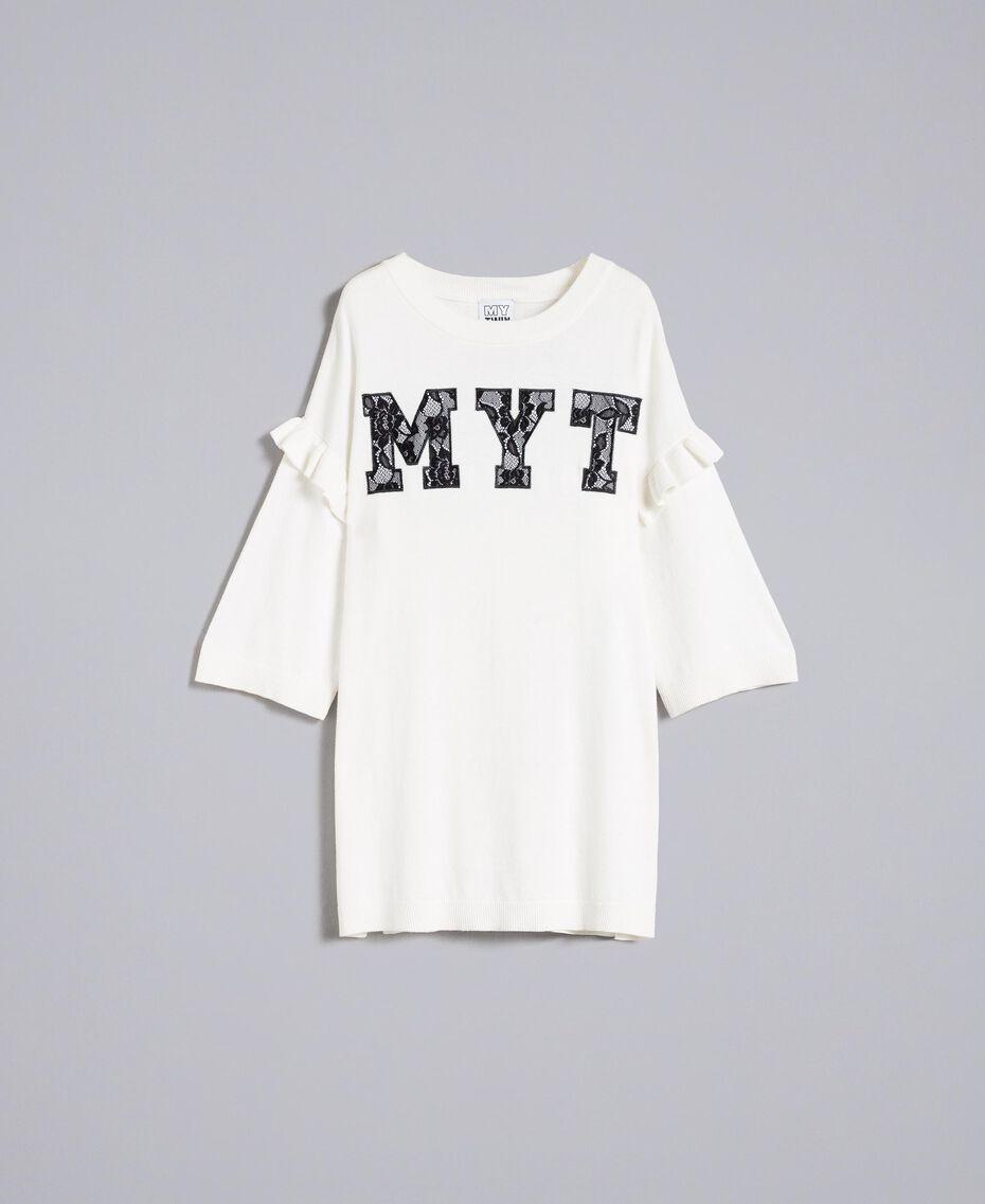 Maxi maglia con ricamo-logo e pizzo Multicolor Bianco Madreperla / Nero Donna JA83FC-0S