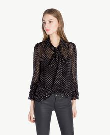 "Polka dot shirt Black Polka Dot Print / ""Doll"" Fuchsia Woman PS82ZP-01"