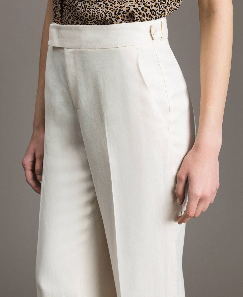 Linen blend cropped trousers White Snow Woman 191TP2202-05