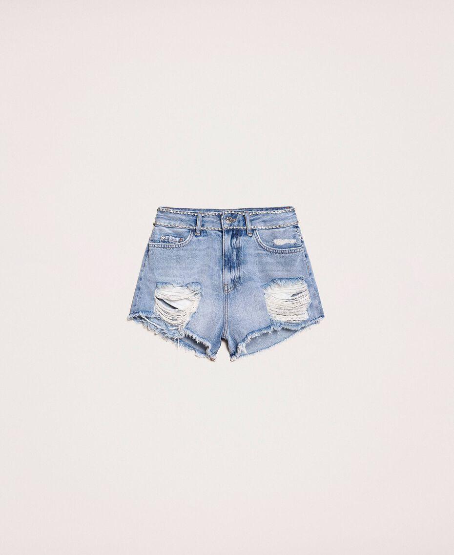 Shorts with rhinestones Denim Blue Woman 201MP2272-0S