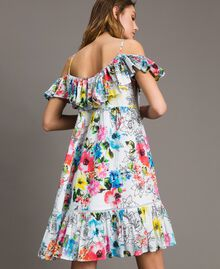 Floral print dress with ruffle and flounce All Over Optical White Multicolour Flowers Print Woman 191MT2290-04