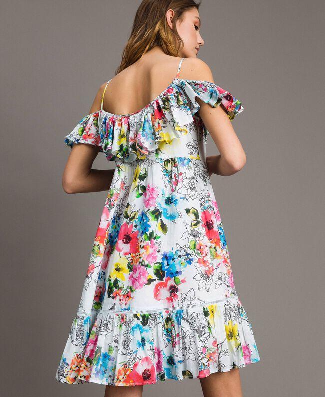 Kleid mit Blumenprint, Rüschen und Volant All Over Optisch Weiß Multicolour Flowers Motiv Frau 191MT2290-04