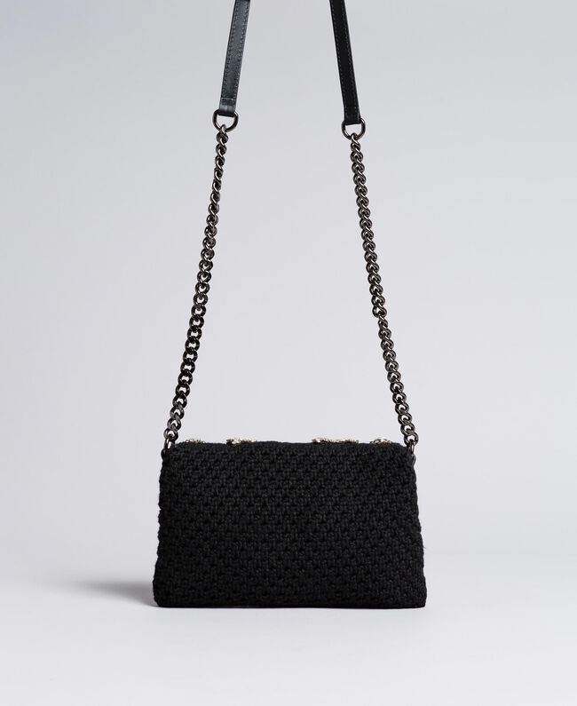 Crocheted shoulder bag with patch Black Woman AA8PJ1-03
