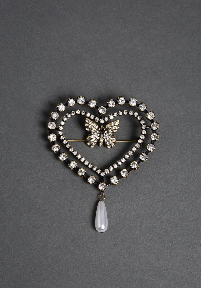 Heart brooch with butterfly, bezels and pearl