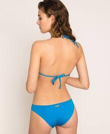 "Bikini bottom with inlaid colour blocks and logo Multicolour ""Bay"" Blue / ""Choco"" Brown / Optical White Woman 201LMMH66-03"