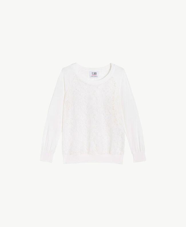 Lace sweatshirt White Woman LS89DD-01