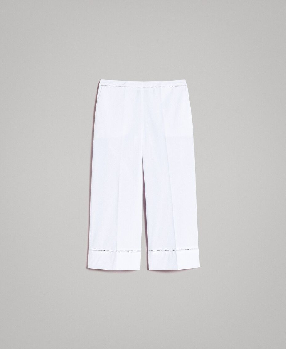 Poplin trousers with embroideries White Woman 191TT2244-0S