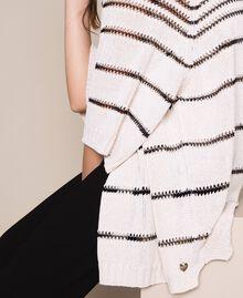 Длинный кардиган в контрастную полоску Полосатый Античный Белый / Черный женщина 201TT3130-04