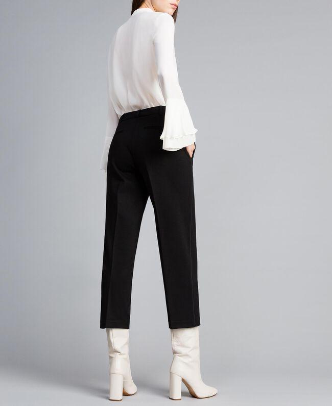 Pantalon en point de Milan Noir Femme TA822F-03