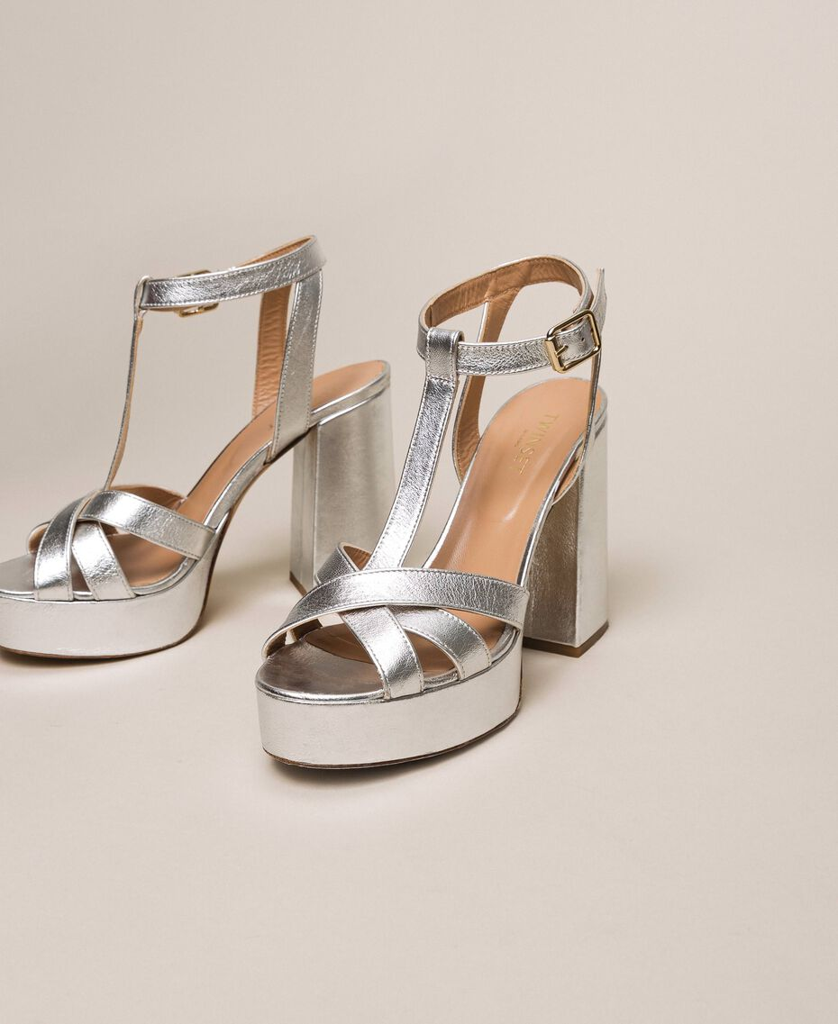 Laminated leather T-bar sandals Laminated Silver Grey Woman 201TCP074-02