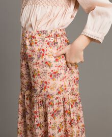 Floral georgette trouser skirt Mini Flowers Print Child 191GJ2801-04
