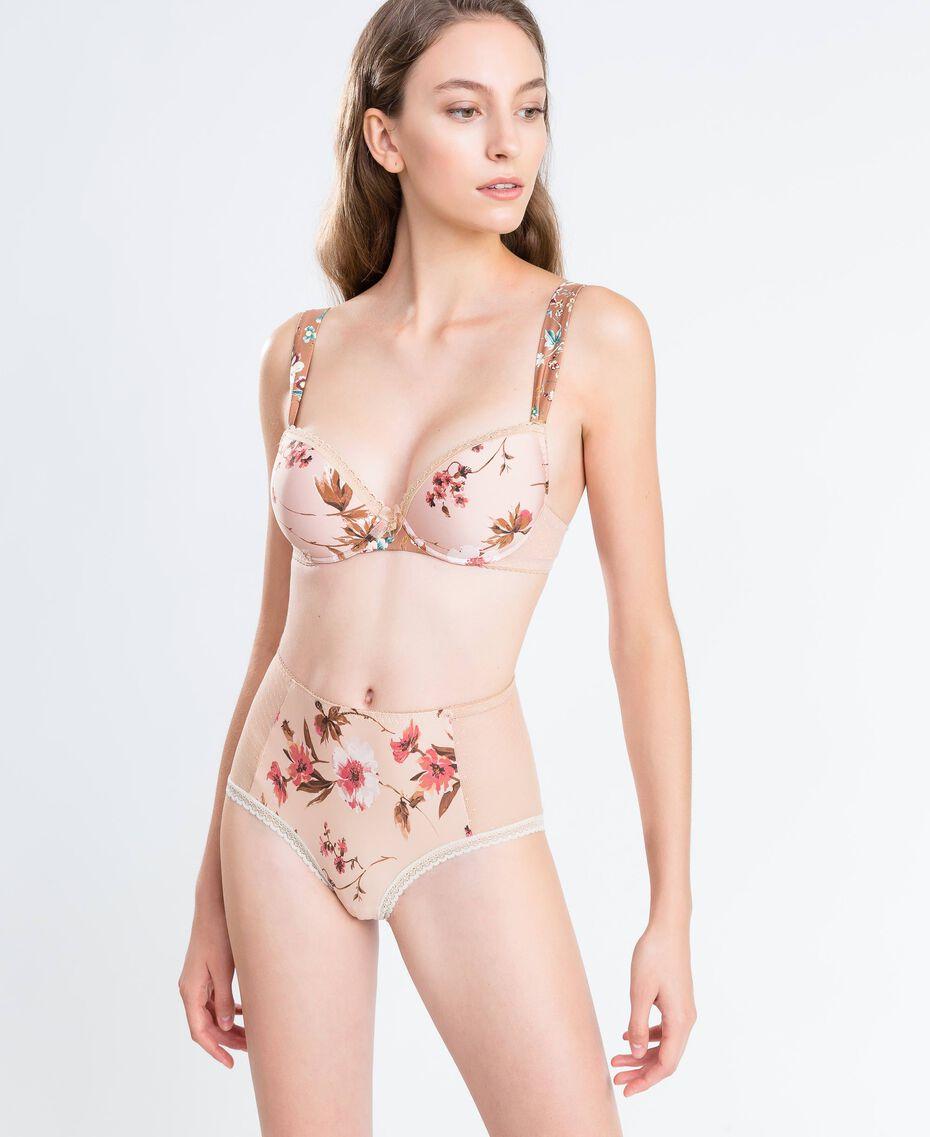 Slip taille haute imprimé floral Imprimé Mélange Fleurs Rose Ballerines Femme IA8E99-0S