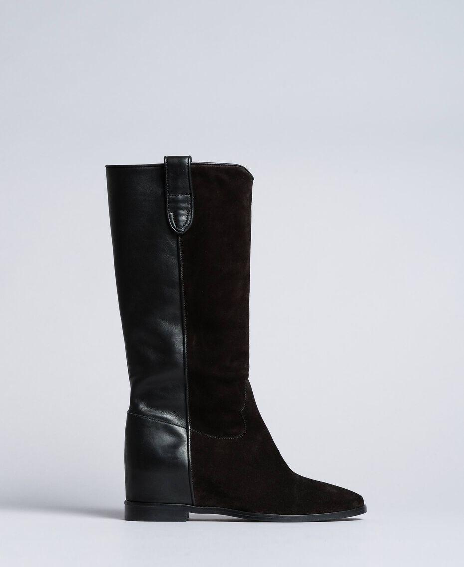 Bottines en cuir et croûte de cuir avec semelle compensée Noir Femme CA8TCE-02