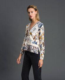 Cardigan avec imprimé floral et chevrons Imprimé Fleurs d'Automne Crème Femme 192ST3221-03