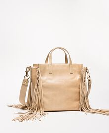 Medium leather shopper with fringes Nougat Beige Woman 201TO8141-03