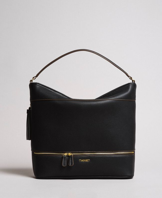 Faux leather hobo bag with tassel Black Woman 191TA7600-01