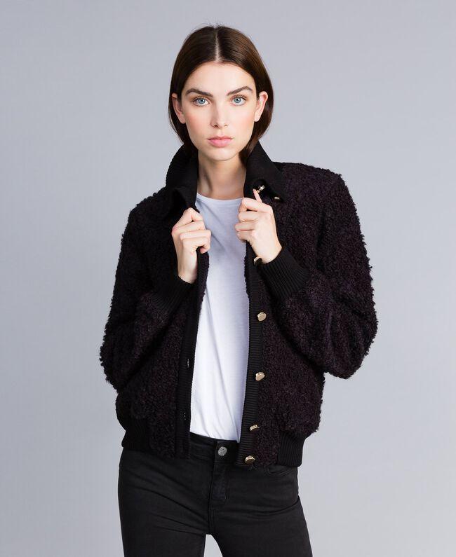 Bomber en laine mélangée bouclée Noir Femme IA87DD-01