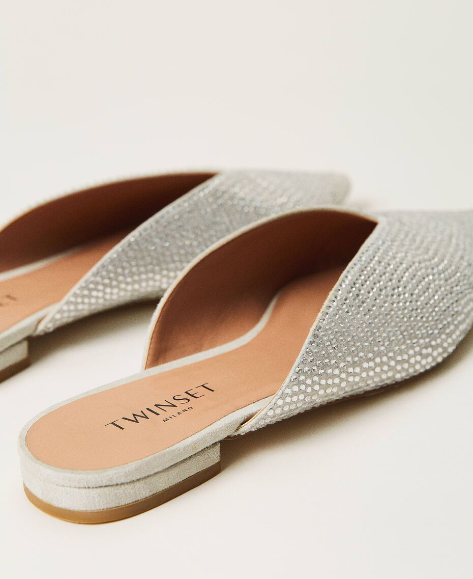 Chaussures slippers avec strass Blanc «Strass Crystal» Femme 211TCT090-03