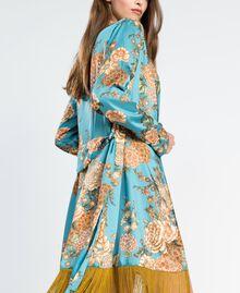 """Халат из твила с набивным цветочным рисунком Набивной Голубой """"Синяя Меланхолия"""" Цветочный женщина LA8KRR-04"""