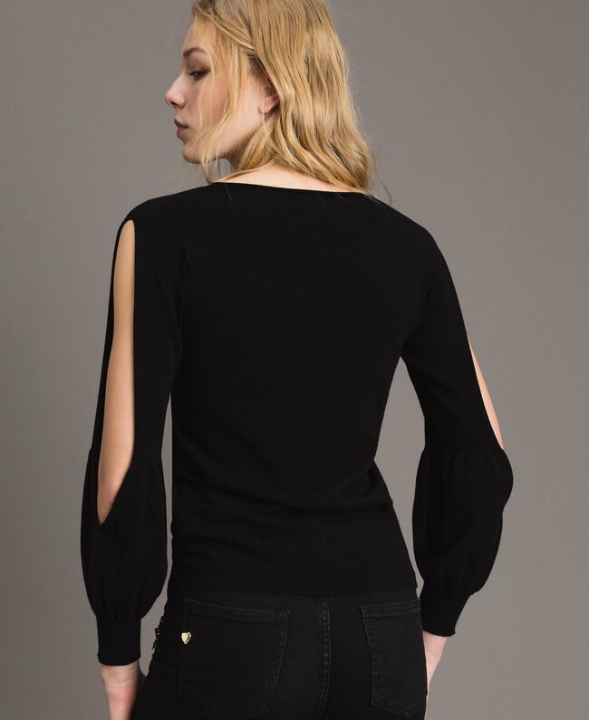 Stretch top with cutouts on sleeves Black Woman 191TP3294-04