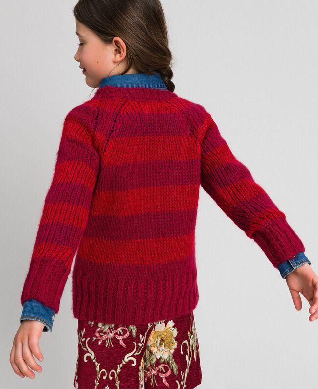 Zweifarbig gestreifter Pullover aus Mohair Jacquard Streifen Weinrubinrot / Rot Kind 192GJ3220-03