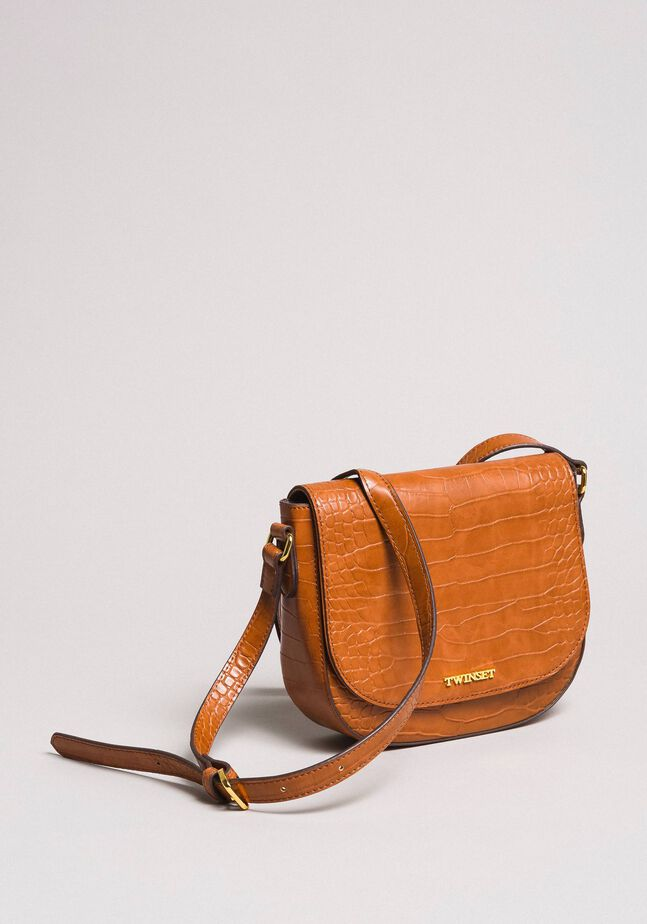 Crocodile print shoulder bag