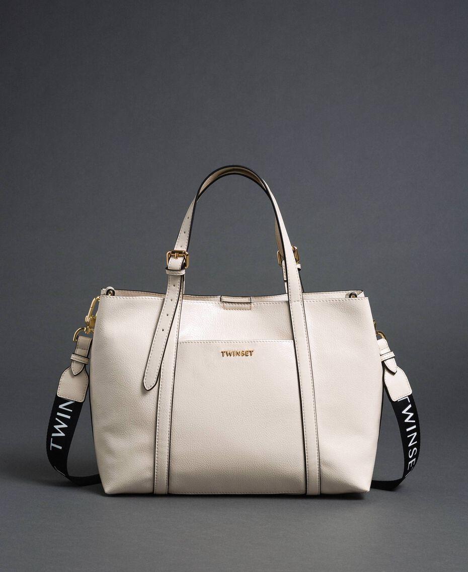 Borsa shopper in similpelle effetto vernice Bianco Neve Donna 192TO8150-02