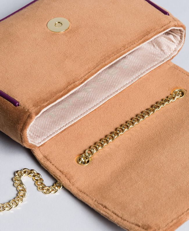 Velvet shoulder bag with embroidery and rhinestones Camel Woman AA8PBN-04