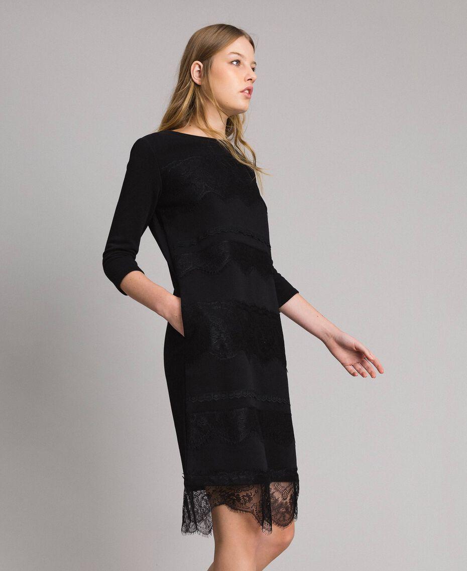 Robe en molleton avec dentelle Noir Femme 191MP2325-02