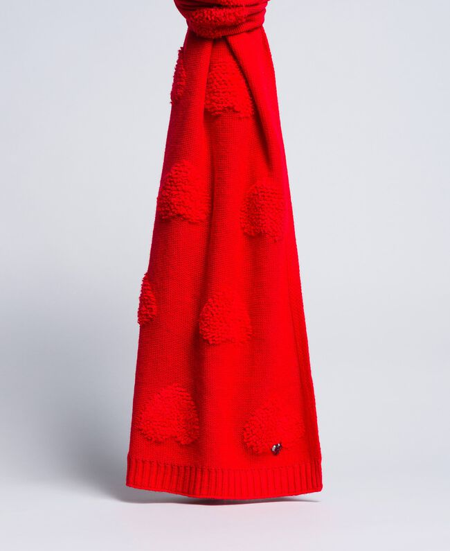 Schal mit Herzen aus Chenillestickerei Rot Mohn Frau VA8P2U-01