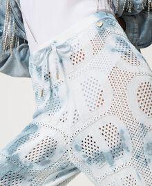 "Pantaloni jogging in maglia con logo Tie Dye Tricot Bianco ""Neve"" / Blu ""Nautical"" Donna 211TT3252-05"