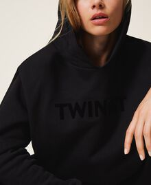 Hoodie with same tone logo embroidery Black Woman 202TT2T57-05
