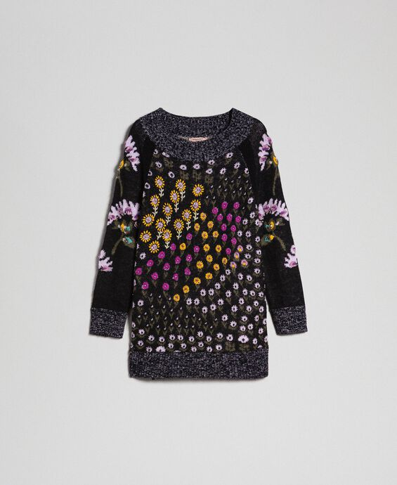 Pull jacquard floral avec broderies