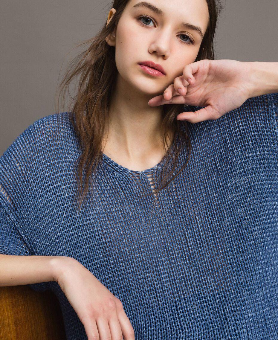 Pull réversible avec encolure en V Bleu cobalt Femme 191MT3011-01
