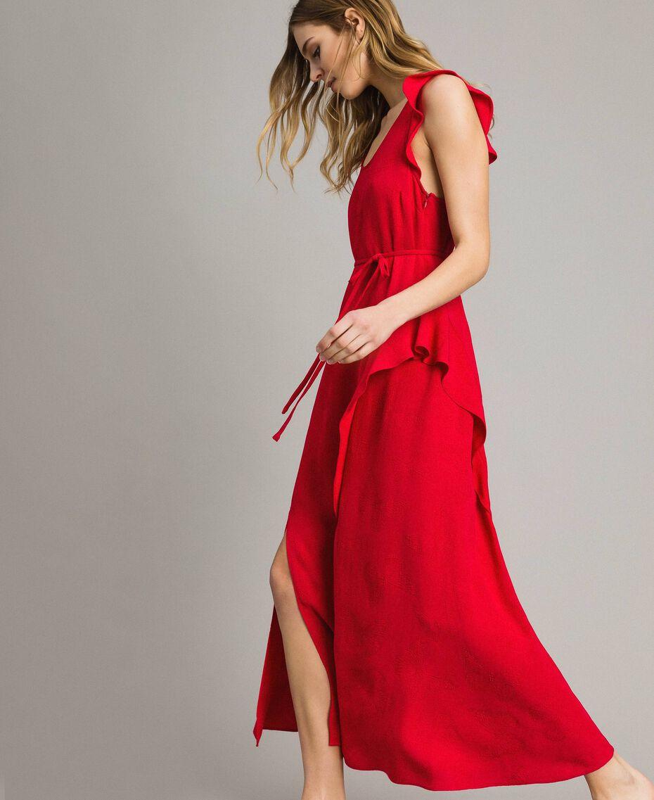 "Jacquard butterfly and flounce long dress ""Lipstick Red"" Woman 191TT2144-02"